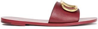 Valentino Go Logo Embellished Leather Slides