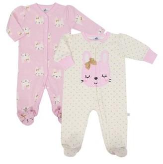 Just Born Organic Baby Girl Sleep 'N Play Pajama, 2-Pack
