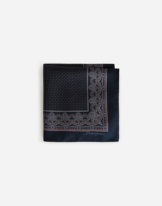 Dolce & Gabbana Silk Pocket Square With Tie Print