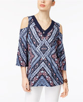 Style&Co. Style & Co Crochet-Trim Cold-Shoulder Top, Only at Macy's