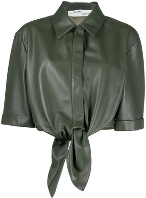 Off-White Leather Bow Baseball Shirt