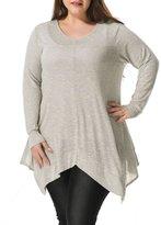 Allegra K Agnes Orinda Women Plus Size V Neck Asymmetric Hem Tunic Top Grey