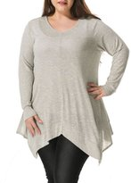 Allegra K Agnes Orinda Women's Plus Size V Neck Asymmetric Hem Tunic Top Grey