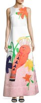 Alice + Olivia Honey Sleeveless Printed A-Line Gown, White/Multicolor