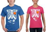 NineTeen Halloween Skeleton Candy / Boo Baby Romantic Couples Matching T-Shirts (M Blu.M / W Pink.M)