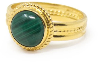 Vintouch Italy Fascetta Gold-Plated Mini Malachite Ring