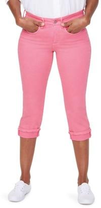 NYDJ Marilyn Mid-Rise Straight Leg Crop Frayed Cuffed Jeans