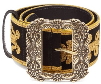 Etro Embroidered Suede Belt - Womens - Black Gold