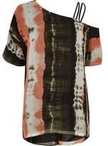 River Island Womens Khaki green tie dye one shoulder top