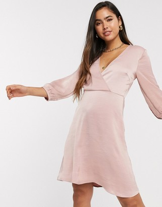 Vila mini dress with wrap detail in pink