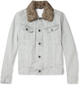 Maison Martin Margiela Shearling-Collar Slim-Fit Denim Jacket