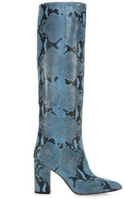 Paris Texas Knee-High Python-Embossed Leather Boots