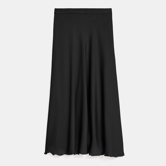 Theory Ruffled Slip Skirt in Stretch Silk