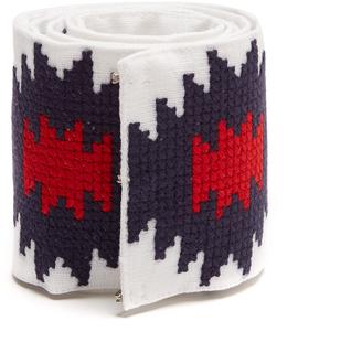VITA KIN Rhombus embroidered linen belt