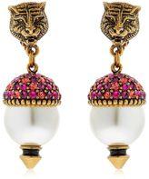 Gucci Faux Pearls & Crystal Earrings