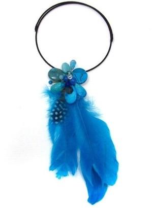 Aeravida Handmade Floral Tassel Mix Stone Blue Feather Statement Choker