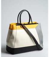 Fendi ivory colorblock leather '2Jours' convertible tote