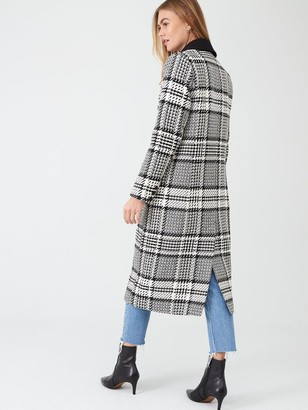 River Island Check Double Breasted Longline Coat- Black