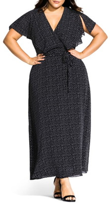 City Chic Flirty Pin Spot Short Sleeve Dress