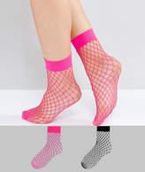 New Look 2 Pack Fishnet Ankle Socks