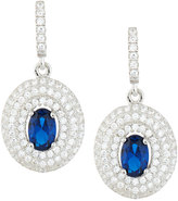 FANTASIA Oval Faux Sapphire & Pave CZ Crystal Drop Earrings, Blue/Clear