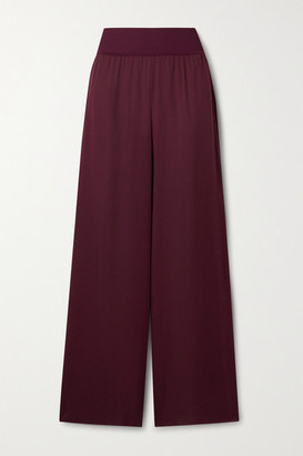 Theory Silk Crepe De Chine Wide-leg Pants - Burgundy