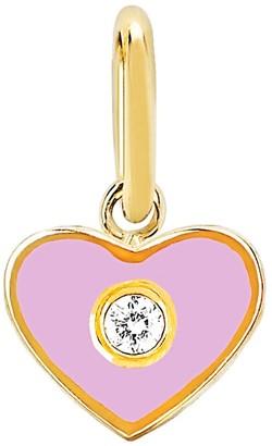 Ef Collection Diamond Enamel Heart Pendant Charm