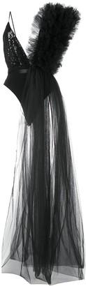 Alchemy Asymmetric Ruffle-Detail Bodysuit