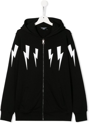 Neil Barrett Kids long sleeve lightning bolt hoodie
