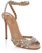 Thumbnail for your product : Aquazzura Tequila Crystal-Embellished Leather Sandals