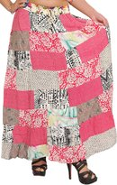 Exotic India Long Printed Boho Skirt from Gujarat with - Color