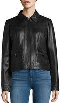 Bernardo Spread Collar Retro Leather Jacket