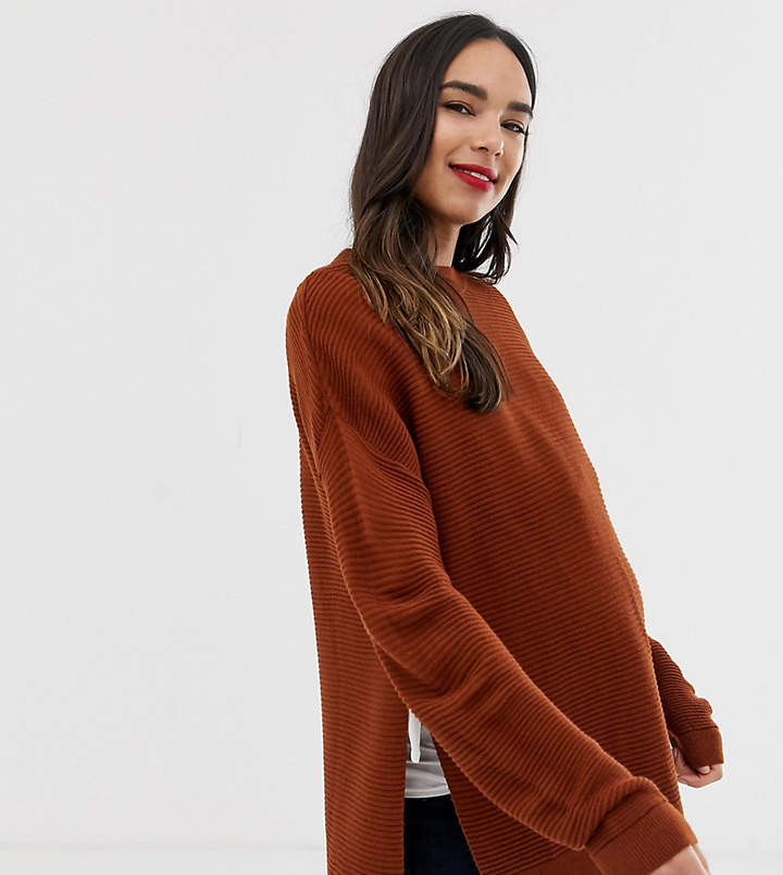 DESIGN Maternity Nursing sweater with ripple stitch detail