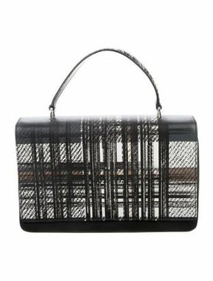 Prada Tessuto Saffiano Tartan Handle Bag Black