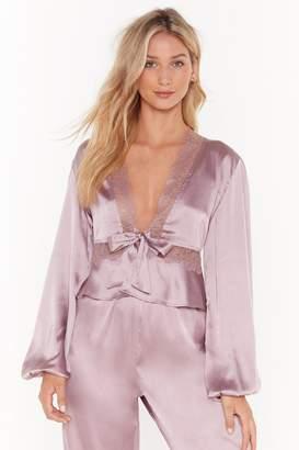 Nasty Gal Womens Never Gonna Satin Lace Pyjama Top - purple - 8