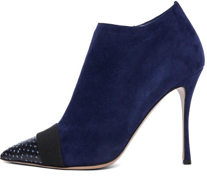 Nicholas Kirkwood Suede Ankle Boots in Black & Indigo