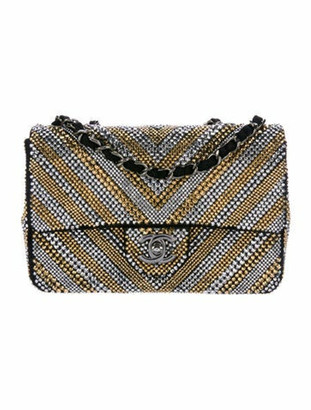 Chanel Swarovski Strass Chevron Flap Bag Gold