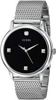 GUESS GUESS? Men's U0280G1 Slim Round Silver-Tone Diamond-Accented Mesh Watch