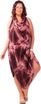 1 World Sarongs Womens PLUS Size Jungle Tie Dye FRINGELESS Sarong Blue