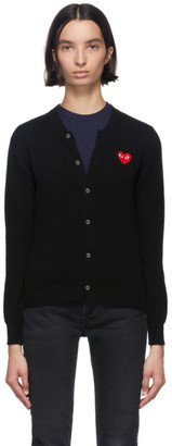 Comme des Garcons Black and Red Heart Patch Cardigan