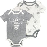 Burt's Bees Baby Set Of 2 Bee Bodysuits (Baby) - Heather Grey-18 Months