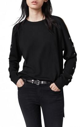 AllSaints Cross Lace-Up Sleeve Merino Wool Sweater