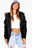 Boohoo Sophie MA1 Bomber With Faux Fur Hood