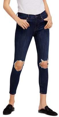 Free People Busted Skinny Jeans in Dark Blue
