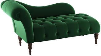 One Kings Lane Frances Tufted Chaise - Emerald Velvet