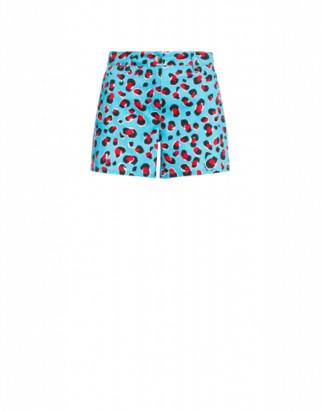 Love Moschino Stretch Gabardine Shorts Leo Woman Blue Size 38 It - (4 Us)