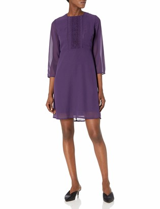 James & Erin Women's 3/4 Sleeve Lace Panel Fit and Flare Dress