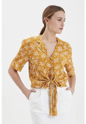 Ichi Golden Yellow Ihemmet Knot Top - M