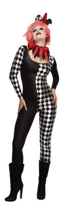 Fever Smiffy's Women's Harlequin Jester Costume Catsuit Collar and Hat on Headband Halloween Size 14-16 45398