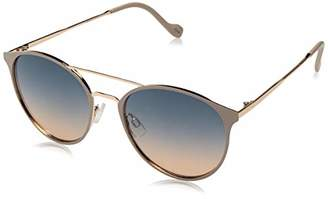 Jessica Simpson Women's J5564 Round Mixed Metal Sunglasses with Metal Browbar and Temple and 100% UV Protection